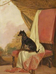 'Tiny', a Manchester Terrier by Richard Ansdell ~ 1844, oil on panel