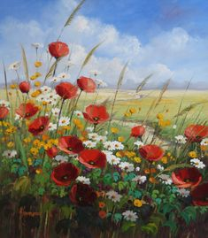 Field edge with poppies and daisies in front of blue sky Poppy Field Painting, Oil Painting Flowers, Watercolor Flowers, Watercolor Landscape, Landscape Art, Landscape Paintings, Watercolor Paintings, Painting Inspiration, Flower Art