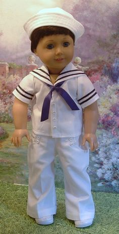 The Littlest Sailor by MyGirlClothingCoHeir American Girl Outfits, American Boy Doll, American Girl Crafts, American Doll Clothes, Boy Doll Clothes, Doll Clothes Patterns, Doll Patterns, Sewing Patterns, Sailor Outfits