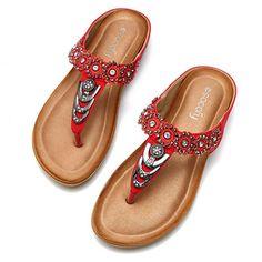 e2c0c024e71094 SOCOFY Large Size Rhinestone Clip Toe Bohemia Flip Flops Online - NewChic  Mobile. Sandals 2018