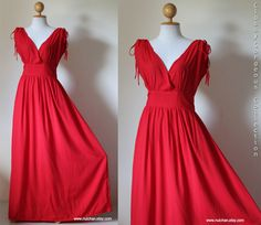 RED V-Shape Sleeveless or Short Sleeve Cotton Silk Evening Dress : Classy Gorgeous Collection. $62.00, via Etsy.