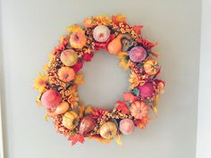 Items similar to Fall Wreath, Autumn Wreath, Golden Harvest Wreath - pumpkin, gourd, fall decor on Etsy Golden Harvest, Autumn Wreaths, Floral Wreath, Thanksgiving, Seasons, Unique Jewelry, Handmade Gifts, Pretty, Crafts