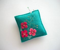 Pincushion Teal Felt Needle Keeper with Hand Embroidered Felt Flowers and Swirls Handsewn