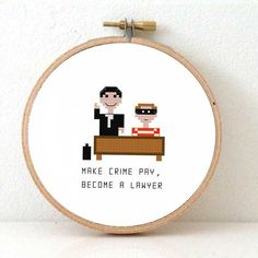 2 x Cross stitch pattern of a lawyer and criminal. DIY by koekoek