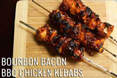 Juicy chicken breast covered in bacon paste, then smothered in BBQ sauce & grilled to perfection. Bourbon Bacon BBQ Chicken Kebabs are a crowd pleaser.