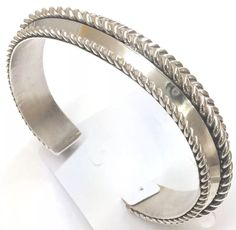 Sterling Silver Native American Navajo Indian Raised Center Cuff Signed Tom Hawk