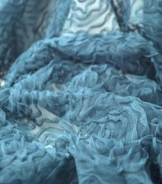 All That Glitters Rosebud Embroidered Mesh Fabric-Blue Radiance
