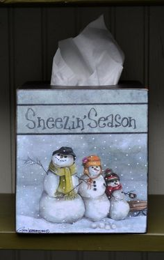 Tissue Box Cover by RuthLorentzen on Etsy Christmas Makes, Christmas Wood, Christmas Snowman, Christmas Projects, Father Christmas, Xmas, Tole Decorative Paintings, Tole Painting Patterns, Tissue Box Covers