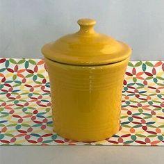 Fiesta® Dinnerware Daffodil Jam Jar. Made in the USA by the Homer Laughlin China Company   eBay Orange Kitchen, Individual Cakes, Kitchen Utilities, Appetizer Plates, Jam Jar, Ball Jars, Homer Laughlin, Dish Sets, Deep Dish