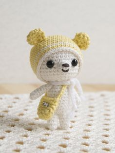 ❤️this little bear with the pom pom hat!  roroちゃん by mischief* ぬいぐるみ・人形 あみぐるみ