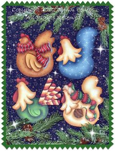 #CC117 - More Funky Christmas Chickens Ornaments - Painting E Pattern by Cyndi Combs  Decorative Painting E pattern to paint for craft shows or gifts. Easy to paint with step by step instructions. Pattern is easily adaptable to fit many surface types by simply reducing or enlarging the pattern. Trays, plates, sign boards, canvas, pillows...etc. The possibilities are endless!  *INSTANT DOWNLOAD  The surface for this design is available from the websites listed below:  www.cdwood.com…