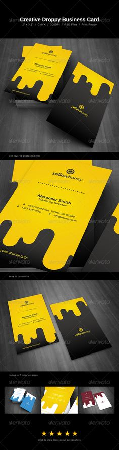 Droppy Business Card  #GraphicRiver         Choose between a honey, water, milk, juice, blood, chocolate or wine theme.