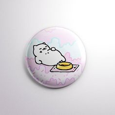 "1 pinback button / badge / pin  Tubbs the Cat from Neko Atsume! まんぞくさん (Manzoku-san) ""Satisfaction""   He is a rare cat in the game, and this"