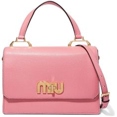 Miu Miu My Miu textured-leather tote ($2,065) ❤ liked on Polyvore featuring bags, handbags, tote bags, structured tote bag, red handbags, kiss-lock handbags, pink tote handbags and red tote