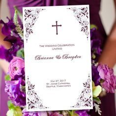 Catholic Wedding Program Gianna Eggplant & by WeddingTemplates, $10.00