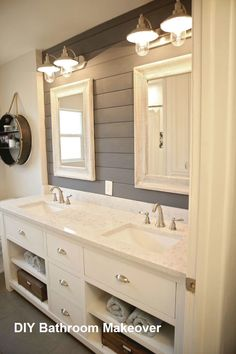 Achieving a vintage, time-worn look is simple if you start with the right paint. With Americana Decor Chalky Finish paint, creating beautiful home decor and furniture pieces does not require skills or… Elegant Bathroom Decor, Bathroom Ideas, Bathroom Vanities, Bathroom Cabinets, Bathroom Organization, Bathroom Images, White Bathroom, Bathroom Storage, Charcoal Bathroom