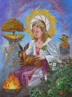 """Brigid Goddess Celtic Goddess Of Fire Painting"" by Tomas OMaoldomhnaigh, on FineArtAmerica"