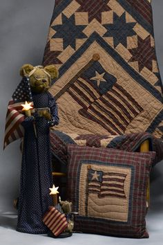 TEA DYED COUNTRY AMERICANA THROW QUILT