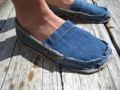 Shoes that you can make from old jeans! So cute!