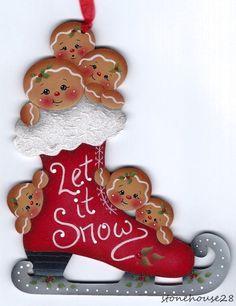 "HP GINGERBREAD Skate ""Let it Snow"" ORNAMENT #Handpainted"