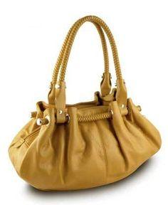 Braided Satchel Hobo Handbag (Yellow),