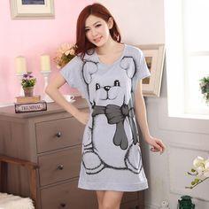f1a7590e3 2016 Women Summer Style Kawaii Pyjama Ladies Cotton Sleepshirt Sleeping  Dress Cartoon Skirt Sleepwear Nightgown Bear