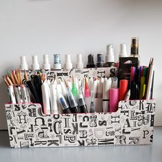 A quick post today from me showing my latest upcycled project – a pen storage box. It only takes a few DecoArt products to totally transform a dull and outdated object into something bright a…