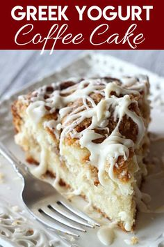 This Greek Yogurt Coffee Cake is out of this world good! It's sprinkled with… This Greek yogurt coffee cake is not good at this world! It is sprinkled with a crumbly crumble and then drizzled with a sweet vanilla glaze! Yogurt Coffee Cake Recipe, Greek Yogurt Recipes, Greek Yogurt Cake, Greek Yogurt Muffins, Desserts With Greek Yogurt, Greek Dessert Recipes, Baking With Yogurt, Siggis Yogurt, Greek Cake