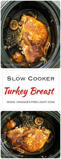 Slow Cooker Turkey Breast - it only takes 5 minutes of your time to put this dish together. Perfect meal for busy weeknight dinner.