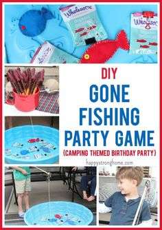 DIY Gone Fishing Party Game Idea - perfect for a summer themed party, beach theme, or as I used it for, a Camping Themed Birthday Party! Easy to make and play, plus gives kids a sweet treat at the end! (sponsored)