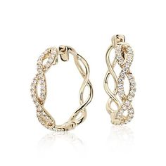 Colin Cowie Eternal Twist Diamond Hoop Earrings in 14k Yellow Gold ( 1/2 ct. tw.)
