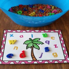 Chicka Chicka Boom Boom letter mats and sensory tubs.FREE Chicka Chicka Boom Boom letter mats and sensory tubs. Prek Literacy, Kindergarten Centers, Early Literacy, Kindergarten Sensory, Kindergarten Morning Work, Literacy Centres, Preschool Letters, Learning Letters, Preschool Classroom