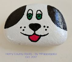 White Puppy Painted Rock - Oct 2017 art projects for kids easy crafts Painted Rock Animals, Painted Rocks Craft, Hand Painted Rocks, Rock Painting Patterns, Rock Painting Ideas Easy, Rock Painting Designs, Pebble Painting, Pebble Art, Stone Painting