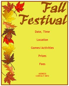 Fall Festival Flyer Template  Template    Carnival Ideas