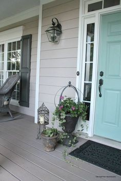 Siding is Pewterworks by Duron (SW can mix Duron colors) Shutters Urbane Bronze SW, Door is Mermaid net by Behr, Rustoleum Deckover in Winchester
