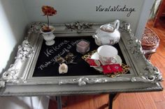Use a really fancy picture frame to make a serving tray or an adorable corner table.