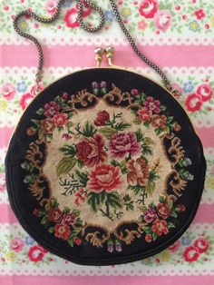 Petit Point Needlepoint floral Handbag Purse by VictorianAntiques