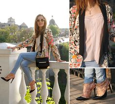 Persunmall Floral Printed Blazer, Mart Of China Studded Black And Nude Heels, Vintage Cami Lingerie Nude Lace Top, Asos Nude Round Sunglasses, Aldo Alexander Wang Marion Inspired Bag With Metal Corners