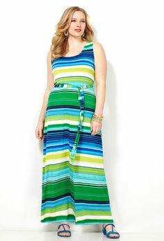 SLVLSS BLUE STRIPED MAXI DRESS, Blue