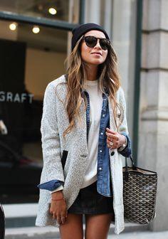 layers : t-shirt + denim shirt + vest on mini faux leather skirt by Jules