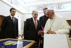 Private audience: Pope Francis and Russian President Vladimir Putin exchanged gifts at the Vatican today, 10 June 2015.