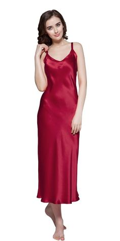 4e636cdf74 Lilysilk Silk Nightgown for Women 22 Momme Long Close-Fitting 100% Pure Silk  Claret