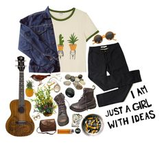 I jumped in the river and what did I see? by purpleghost on Polyvore featuring polyvore, Monki, Levi's, INDIE HAIR, Dr. Martens, Vintage Collection, fashion, style and clothing