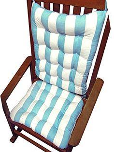 Rocking Chair Cushions   Coastal Aqua U0026 White Cabana Stripe   Extra Large    Reversible