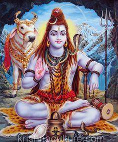 "Shiva in Cave Canvas Art 15x18"""