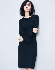 Black Bell Sleeve Knitted Midi Sheath Dress