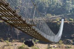 "Swing suspension bridge in Pokhara, Nepal.  Called that because it ""swings' quite a bit.   Yikes!"