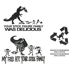 Graceme Car Rearview Mirror Window Body Fuel Tank Cap Funny Decal Sticker Scratch Cover with TREX Black -- To view further for this item, visit the image link. (This is an affiliate link) Funny Decals, Car Decals, Vinyl Decals, Stick Figure Family, Stick Family, Laptop Stickers, Bumper Stickers, Car Body Cover, Dinosaur Funny