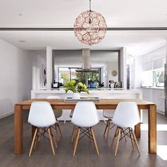 My bright and white kitchen warmed up with Ethnicraft slice dining table and Jasper chairs from Warm Dining Room, Dinning Table, Dining Area, Kitchen Dining, Open Kitchen, Contemporary Open Plan Kitchens, Kitchen Colour Schemes, New Living Room, Interior Styling