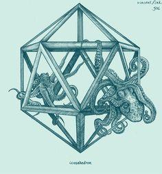 geometric octopus | Geometric Octopus Tattoo, Hale Icosahedron, Icosahedron Octopus ...